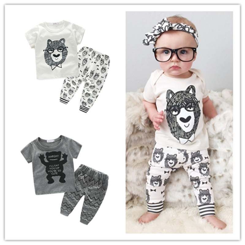 Summer Baby Boys Girls Clothing Set Cotton Cute Little Monster Newborn Infant Outwear Clothes Short Sleeve T-Shirt Pants