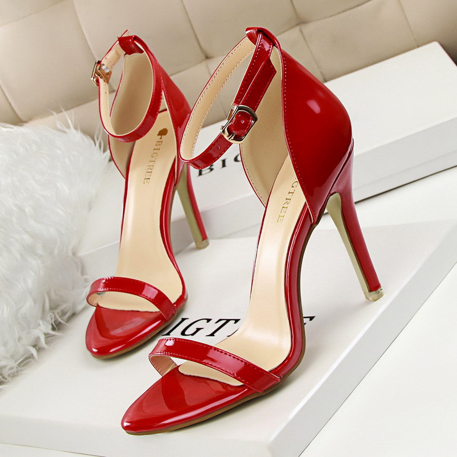 2016 New Summer Shoes High heeled Sandals Fashion Sexy Thin High Heels Shoes Patent Leather Red