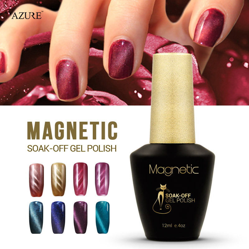 Brand Azure magnet gel soak off UV gel polish cat eyes nail gel UV gel polish 48 colors available free shipping(China (Mainland))