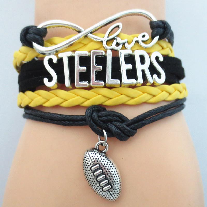 Infinity Love Steelers Football Team Bracelet Customize Pittsburgh black yellow Sport wristband friendship Bracelets B09105(China (Mainland))