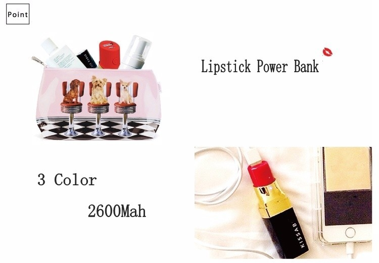 New Design Luxury Brand Kiss Logo Lipstick Power Bank 2600mAh For Iphone Samsung External Battery Charger for All Android Phones