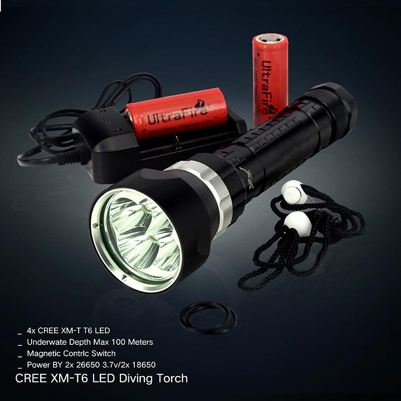6000 Lumen XM-L T6 LED underwater Waterproof 100m Swimming Diving Flashlight scuba Torch + 26650 7200mah battery + charger(China (Mainland))
