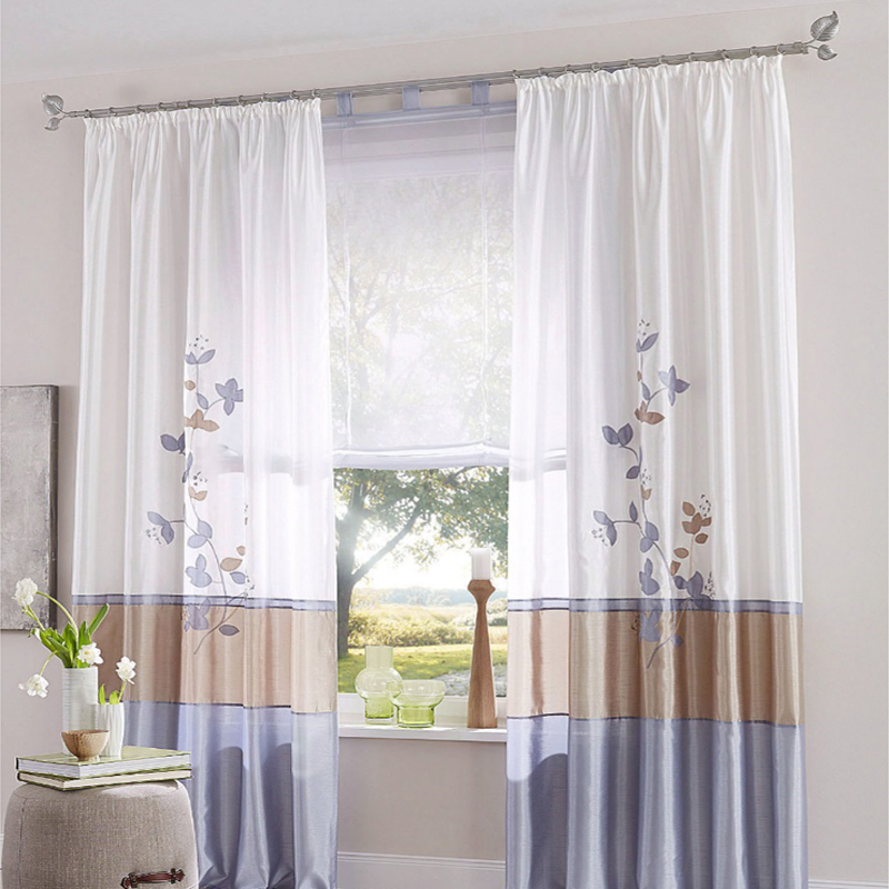 Silk-like Smooth European Embroidery Curtain Bedroom Living Room Floor-length Drapes Blind Home Texile Curtains 1PC(China (Mainland))