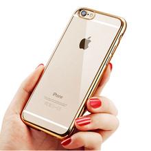 Тпу силиконовый чехол для iPhone 6 6 S телефон 4.7 дюймов плакировкой бампер прозрачная задняя крышка мягкая ясно коке для iPhone 6 6 S плюс 5.5