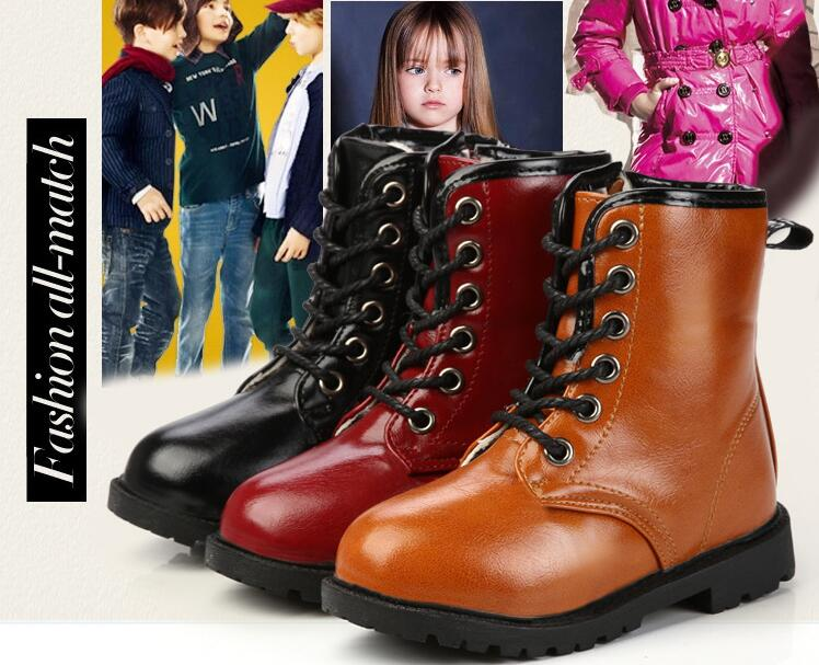 children high help Martin boots new autumn and winter boots boys and girls plus velvet thick warm Martin boots size 27-37(China (Mainland))