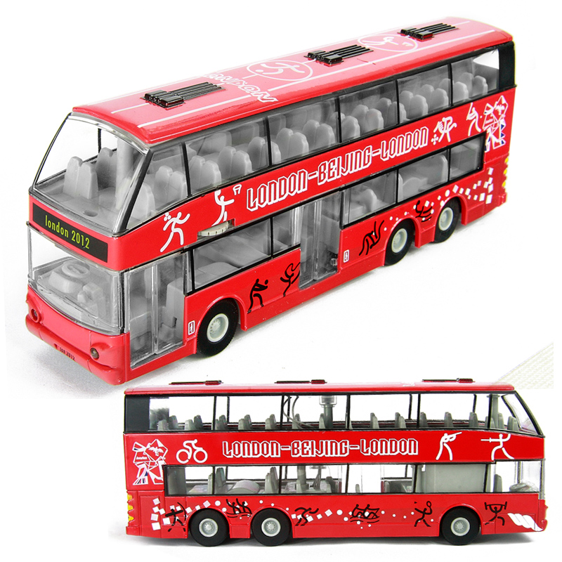 hot new metal car toy model car alloy toys vehicle model double layer bus model open doors music light electric car toy for kids(China (Mainland))