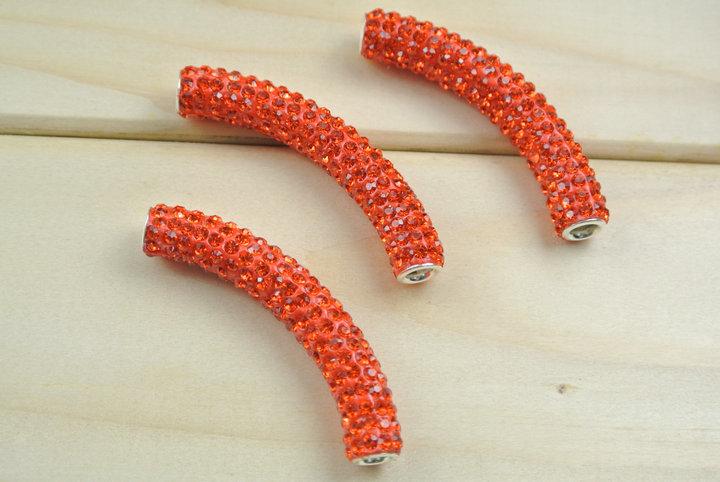 New Orange Color Shamballa Jewelry Making Beads Rhinestone Beads Paved Clay Curved Tube 50pvc/lot<br>