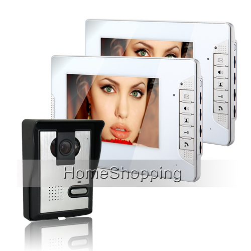 Brand New Wired 7 inch Home Color Video Door Phone Intercom Door bell System 2 White Monitor + Door Camera FREE SHIPPING SALE(China (Mainland))