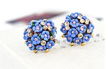 2014 Hot Pendientes Double Earrings Boucle D oreille Bijoux For Women Jewelry Ceramic Flower Stud Earrings