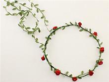 Free Shipping Bohemian Style Wreath Flower Crown Wedding Garland Forehead Hair Head Band Beach Wreath(China (Mainland))