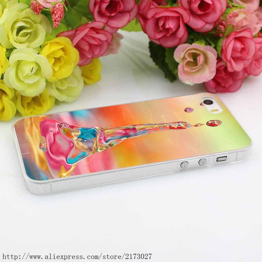 711Y Drop Water Liquid Spray Splash Hard Case Transparent Cover for iPhone 4 4s 5 5s 5c SE 6 6s 7 & Plus
