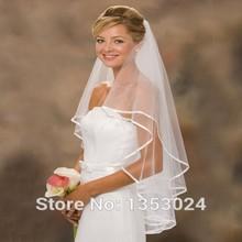 Fast Shipping White Bridal Veil Short 2017 Cheap Ribbon Edge Wedding Veils Assessoires(China (Mainland))