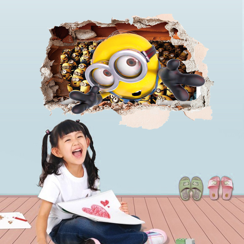 Cartoon Despicable Me 2 Minions 3D wall sticker for kids room living room removable decoration diy pvc decals children gift *(China (Mainland))