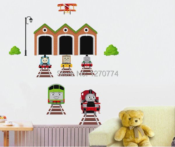 Five generations can remove wall stick kindergarten children room stickers creative DIY train picture wall stick AY738(China (Mainland))