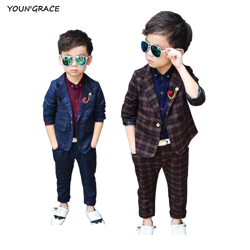 2016 Brand New Boys 2Pcs Plaid Formal Wedding Suit England Style Boys Blazers Kids Party Evening Tuxedos Boys Formal Suit, C154(China (Mainland))