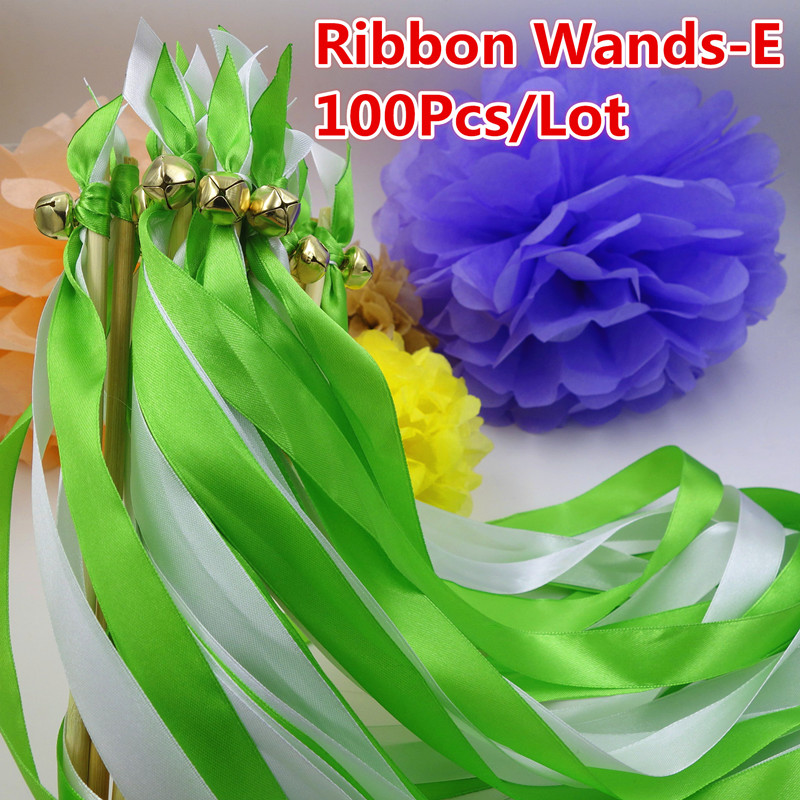 100Pcs 2 Color Ribbon Streamer Wands Stick For Wedding Party Noise Maker Decoration Receiption Send Off Gifts(China (Mainland))