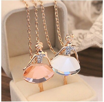 Free shipping 2015 trendy cute jewelry female full drill ballerina crystal pendant long sweater chain necklace