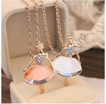 Free shipping (MIX order $10) South Korea necklace female full drill ballerina crystal pendant long sweater chain