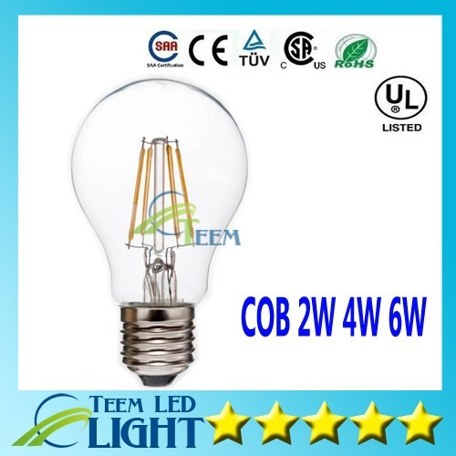 Dimmable Lastest Filament Led Bulbs Edison Light 2W 4W 6W E27 A60 Led Globe Lamp 110V-220V Led downlight Glass Retro LED Bulb(China (Mainland))