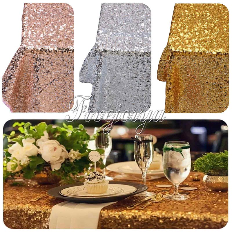"""5Pcs/Lot 40''x60"""" Gold Silver Champagne Sparkly Sequin Rectangle Table Cover Tablecloth For Wedding Party Event Decor By express(China (Mainland))"""