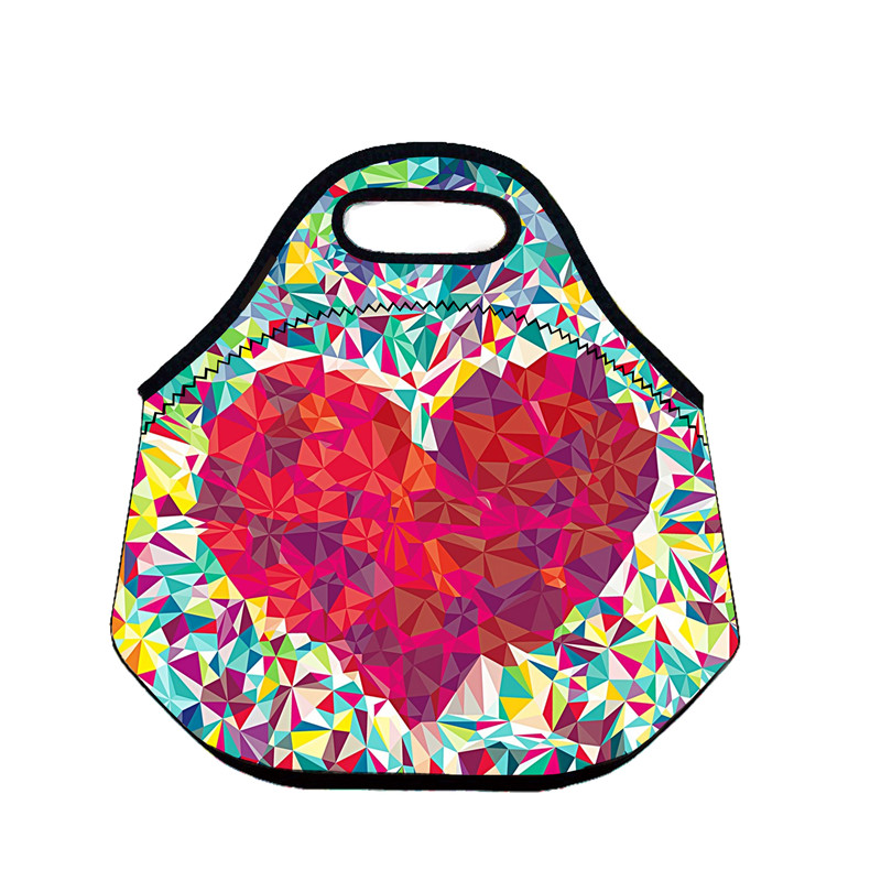 B598 Heart 3D Neoprene Lunch Bag Thermal Insulated Cooler Waterproof Picnic Bag Lunch Storage Handbag Creative Gift Small Bag(China (Mainland))