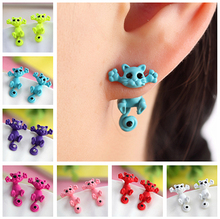 2015 New Multiple Color Fashion Hot Cute Kitten Ear Jewelry Fine Cat Stud Earrings For Women Gifts(China (Mainland))