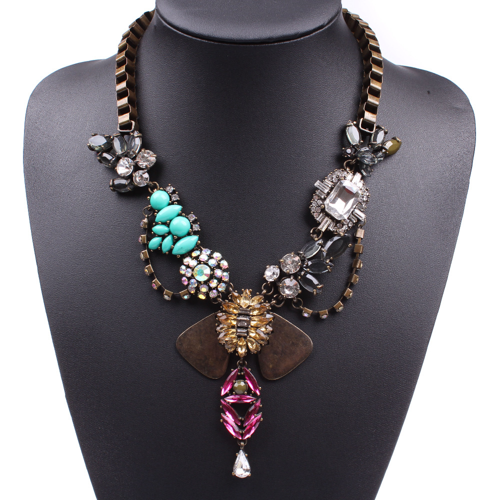 vintage gold plated chain crystal pendant women necklace jewelry for 2016 free shipping(China (Mainland))