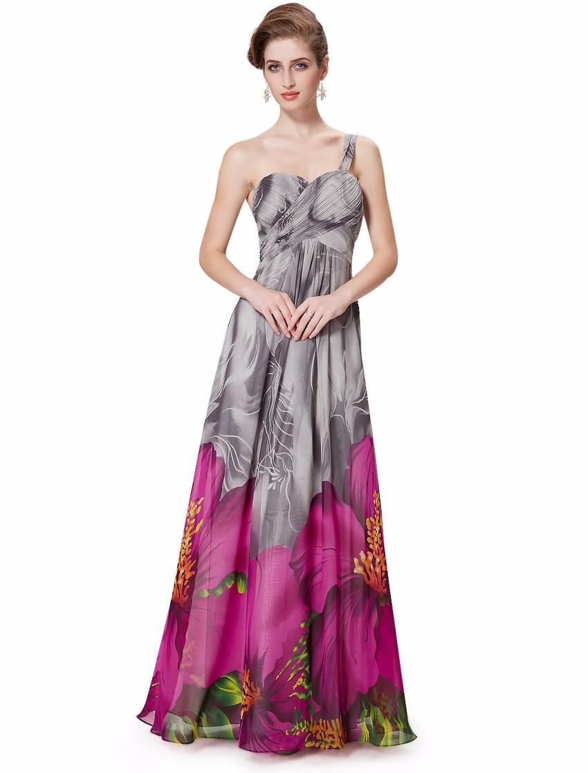 Вечерние платья длинные сексуальные V - образным вырезом розовых цветочный принт шифона для ну вечеринку женщин 2016 HE08394 горячая распродажа одно плечо