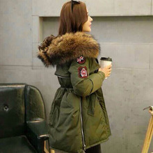 New Brand 2016 Winter Jacket Coat Women's Duck Down Parka Army Green 20cm Large Raccoon Fur Collar Hooded Woman Outwear Clothing