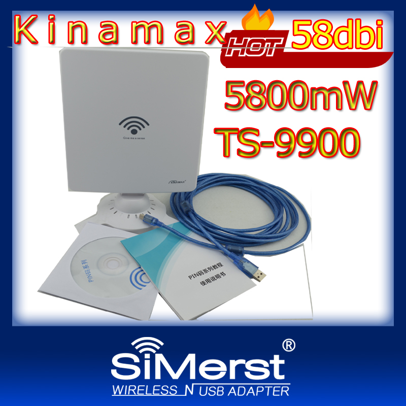 Kinamax TS-9900 WiFi Lan Card High Power Wireless USB Adapter with 5M cable Ralink3070 chipset 5800mW 58dbi(China (Mainland))