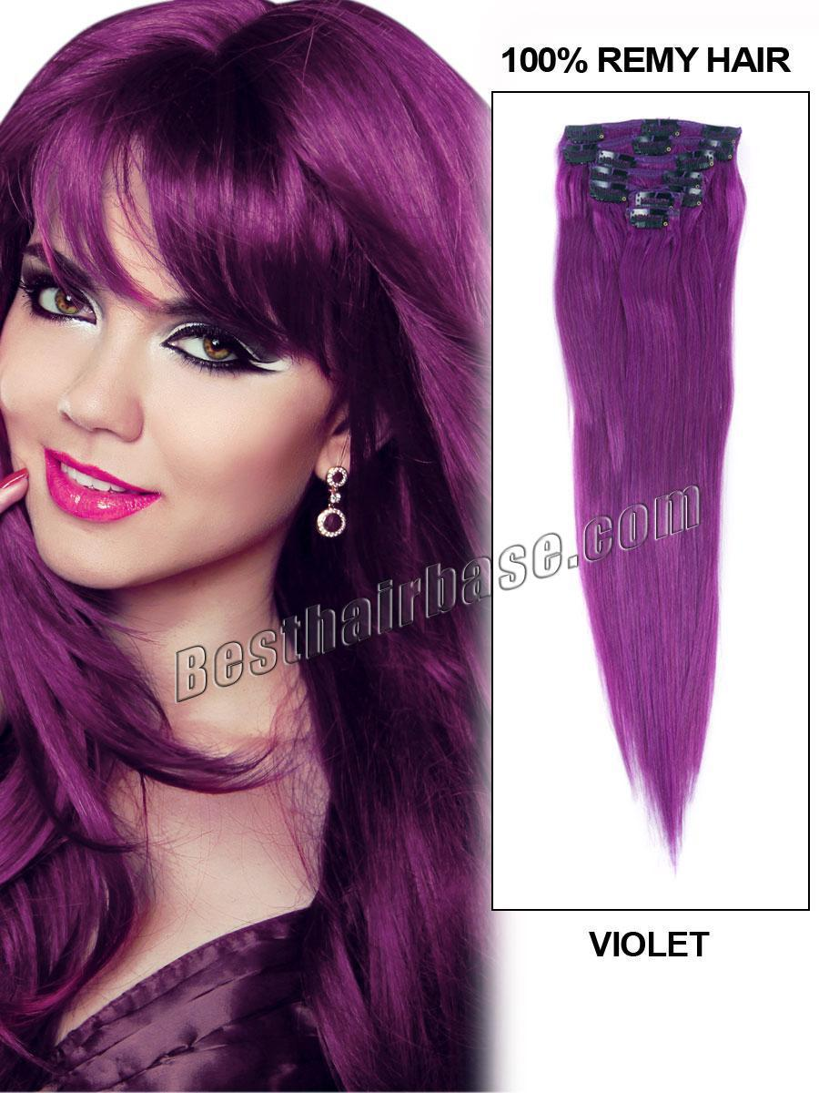 Full Head Straight Violet Clip in Hair Extension 16-32 inch 7 Piece/set 70-150g/set Clip on Remy Hair Extension for Makeup(China (Mainland))