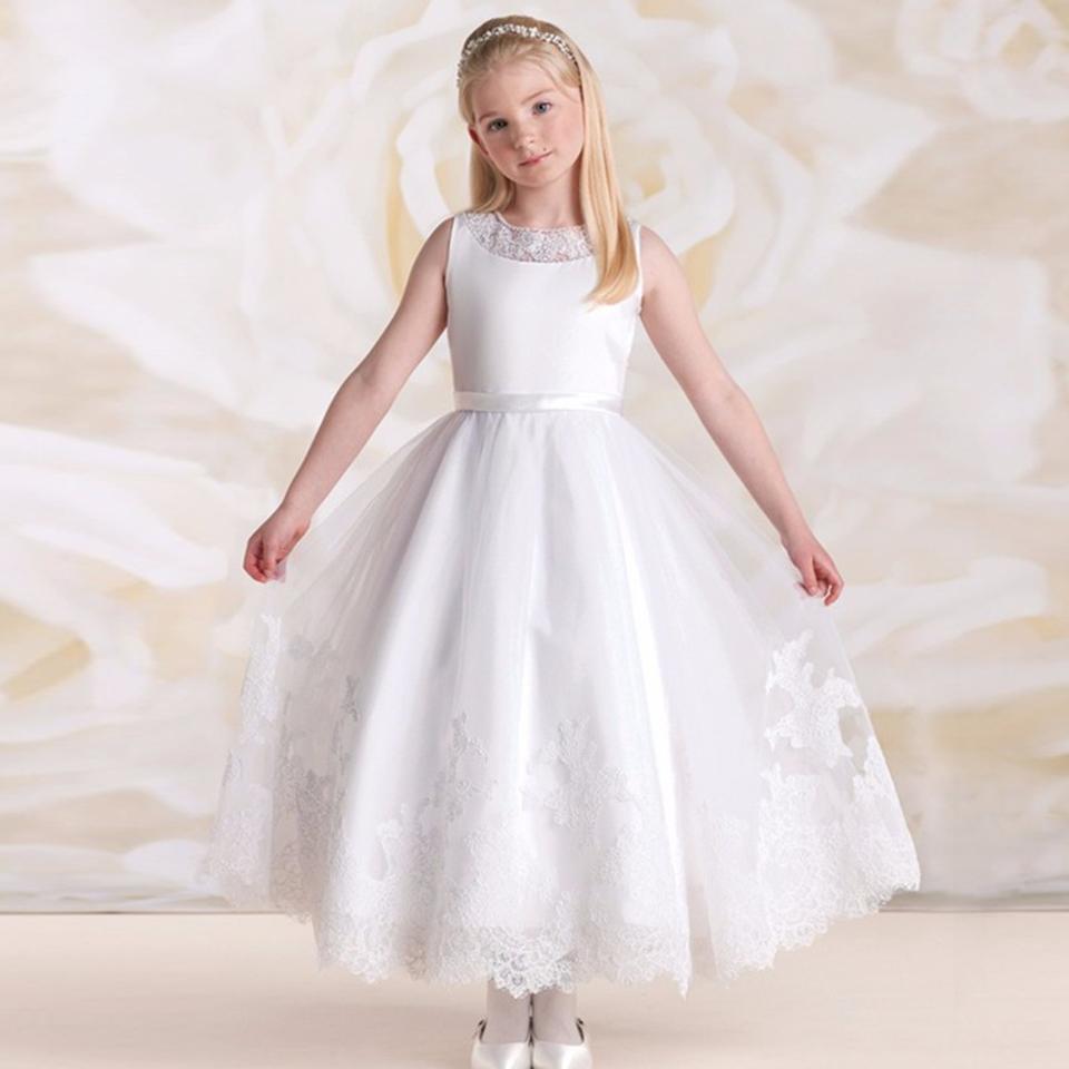 New beach wedding flower girl dress solid ankle length o for Beach wedding dresses ankle length