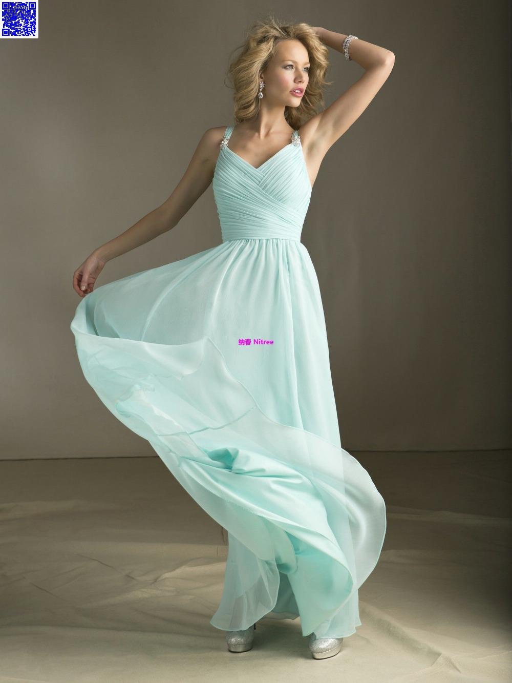 Nitree cheap sky blue bridesmaid dress party gown fashion for Cheap fashion wedding dresses