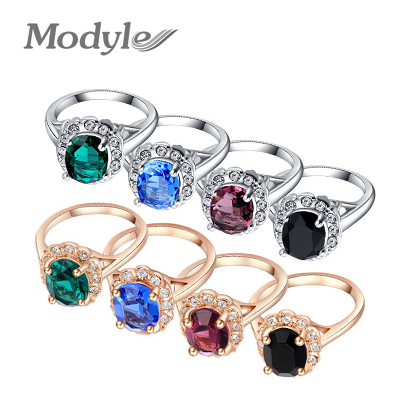 Modyle Brand Black/Blue/Green/Purple Crystal Big Rings For Women Gold Plated Ring Fashion Jewelry Nickel Free(China (Mainland))