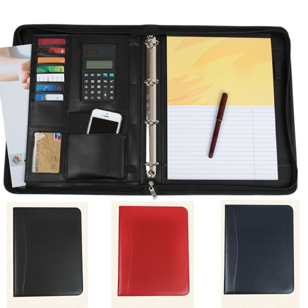 black/blue/red business leather folder a4 documents zippered portfolio cases manager bag Tablet PC mobile padfolio binder(China (Mainland))