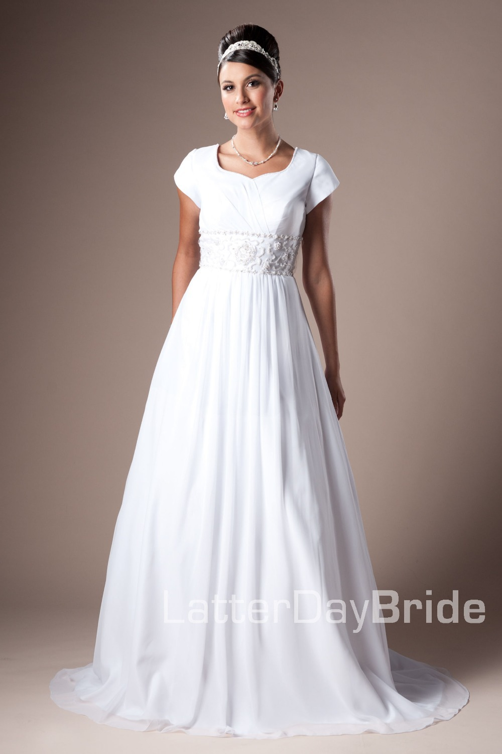2014 new cheap white a line long modest cap sleeves for Modest a line wedding dresses