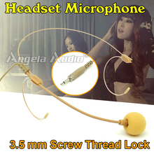 Male Screw Thread Lock 3.5 mm Plug Connector Invisible Flesh Color Headworn Earhook Headset Microphone Mic For Wireless BodyPack