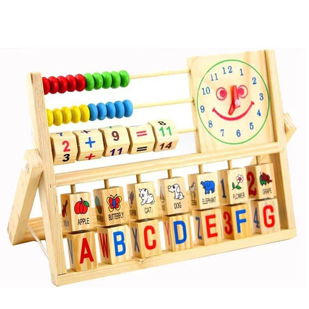 The smiling face clock calculation Child/educational study Wooden toys Early(China (Mainland))
