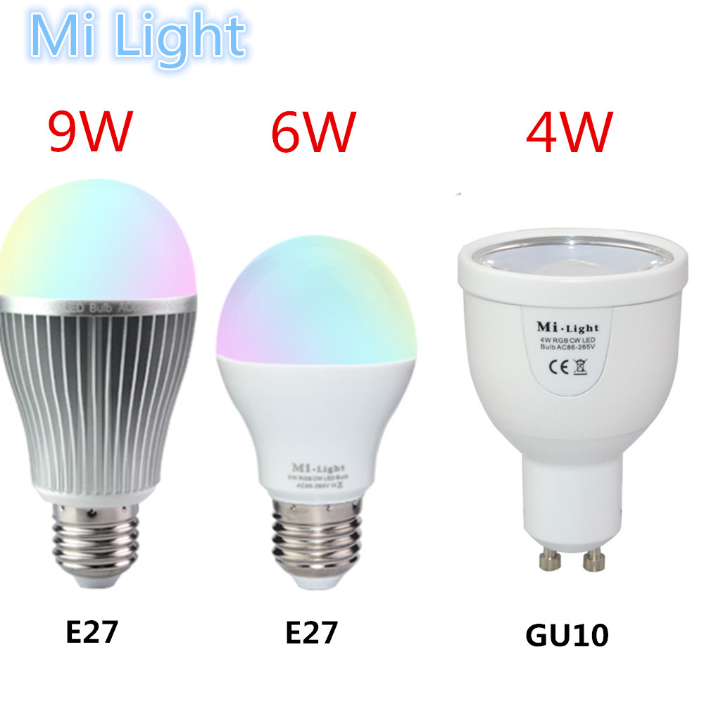 milight led bulb 85 265v 110v 220v dimmable mi light gu10 e27 led lamp 2 4g wireless 4w 6w 9w. Black Bedroom Furniture Sets. Home Design Ideas
