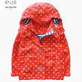 2016 autumn girls brand outdoor jackets waterproof children clothing kids hooded dot printed coat girl blazer