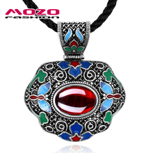 New Bohemian Women Choker Necklaces National Wind Vintage Antique Silver Plated Gem Corundum Pendant Statement Necklace MFCN009(China (Mainland))