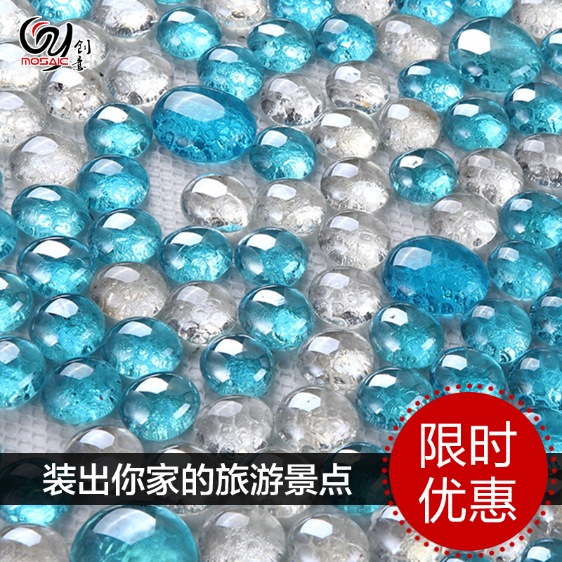 Sky Blue Beads Crystal Glass Mosaic Tile Bathroom Bathroom