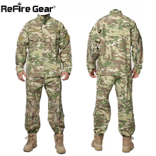 Buy Tactical US RU Army Camouflage Combat Uniform Men BDU Multicam Camo Military Uniform Clothing Set Militar Airsoft Jacket + Pants for $43.79 in AliExpress store