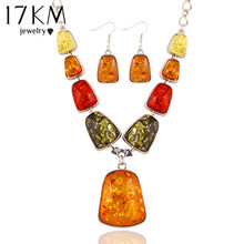 New hot sale Fashion Charm Stone gem Synthetic amber Wedding jewelry sets choker necklace drop earrings for women 2014 M13(China (Mainland))