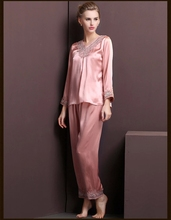 Free shipping!New 2014 Autumn and winter long-sleeved silk pajamas female models female piece suits 100% silk pajamas
