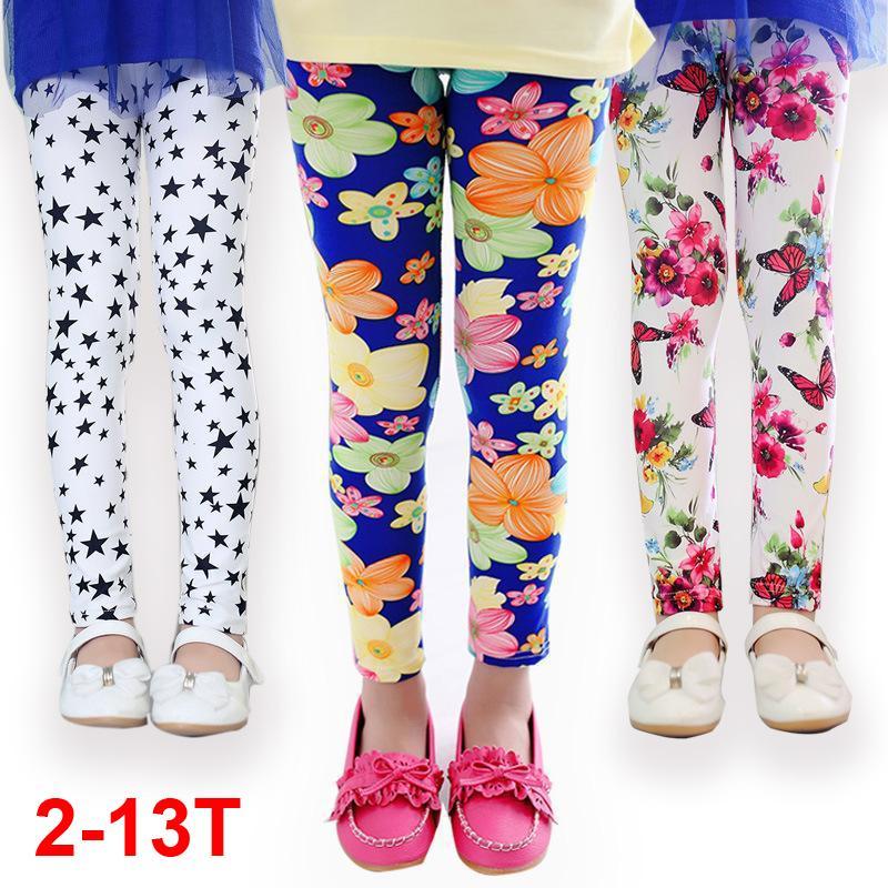 Girls Leggings flora print Girls Pants summer Children Leggings Baby kids Skinny Leggings Micro fiber trousers for girls 24M-13T(China (Mainland))
