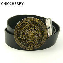 Buy New Fashion Mens Belts Vintage Maya Solar Calendar Round Metal Belts Buckle Cintos Men Couro Black Pu Leather Belt Man Jeans for $11.66 in AliExpress store