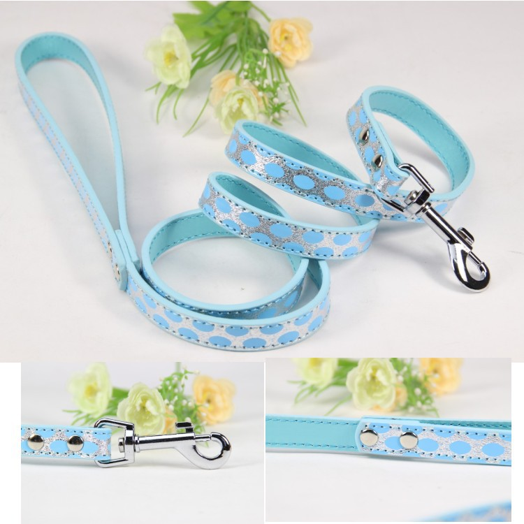Pet Dog Leash Designer show Lead For Pet Dog Size S M L Soft Pu Leather Material Blue Plain Dog Leash small Large Dog Chain Lead(China (Mainland))