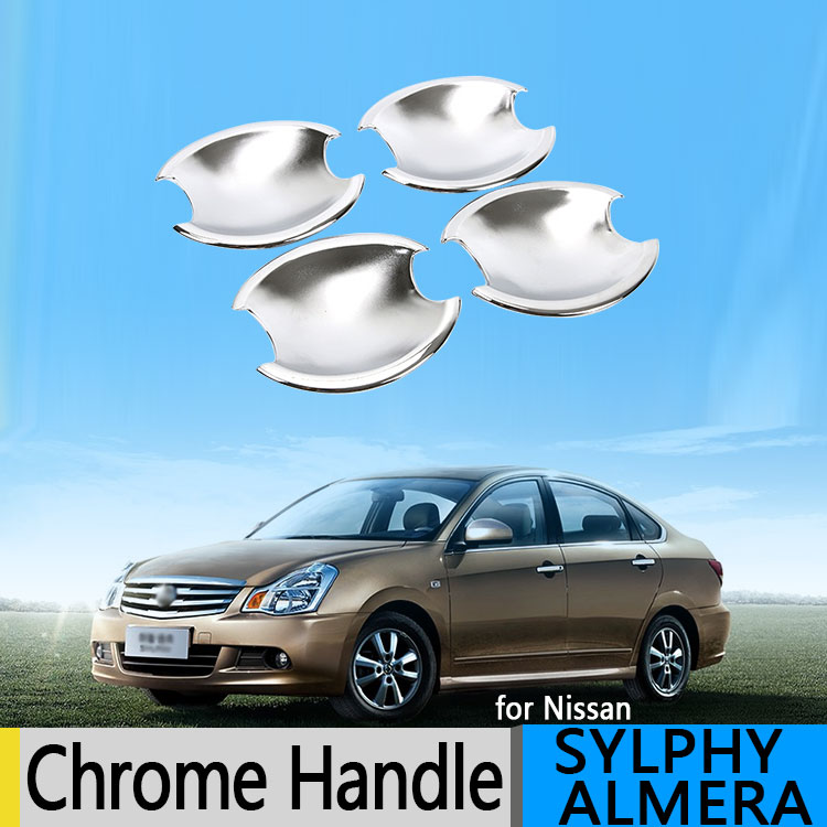 Nissan Almera Bluebird Sylphy G11 2006-2015 Luxurious Chrome Door Handle Covers 2009 2010 Accessories Stickers Car Styling