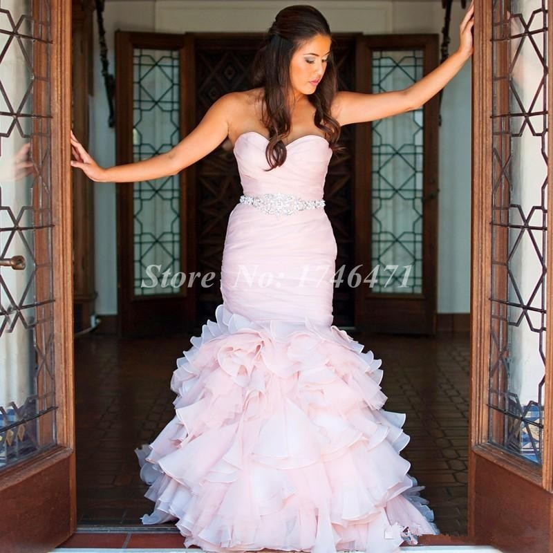 Mermaid Wedding Dresses For Rent Ruffles Sweethheart Backless Brides Gowns